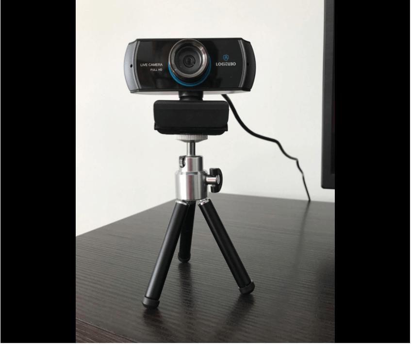 logitubo webcam setup with tripod