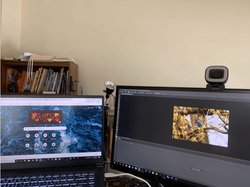 jelly comb webcam setup with the computer